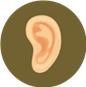 Image of an ear on a light brown background